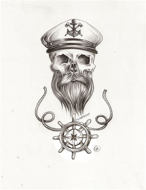 Collection Of 25+ Pirate Skull With Beard Tattoo