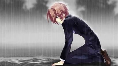 Sad Anime Boy Rain Crying Alone Wallpapers