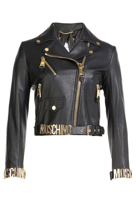 moschino logo leather biker jacket black  black lyst