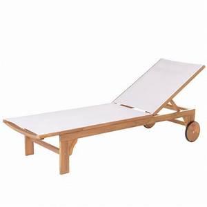 Bain De Soleil Bois : bain de soleil en bois d 39 acacia et textil ne blanc narla ~ Teatrodelosmanantiales.com Idées de Décoration