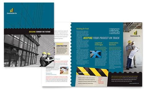 Construction Brochure Design Pdf by Industrial Commercial Construction Brochure Template Design