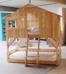 Lit Enfant Double : lit cabane enfant double couchage ~ Teatrodelosmanantiales.com Idées de Décoration