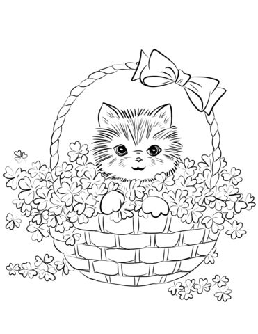 cute kitten  basket  shamrock coloring page  printable coloring pages