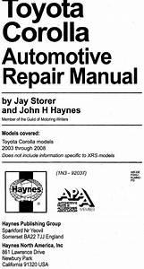 Haynes Manual - Toyota Corolla 2003