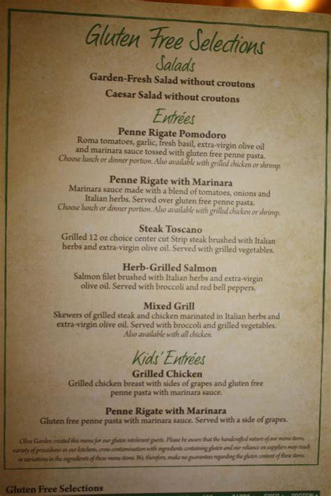 olive gardens menu thriving gfcf olive garden restaurant review