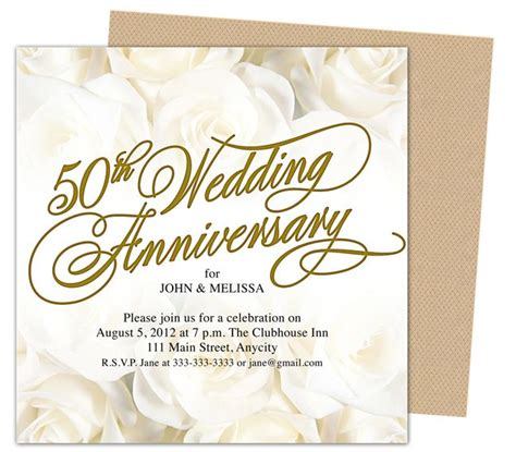 christian anniversary cards template 50th wedding anniverary invitations roses gold 50th