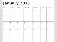 Calendar January 2019 Location Calendar Template Printable