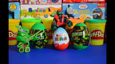 play doh kinder surprise tmnt surprise eggs cars teenage mutant ninja turtles unwrapping wow