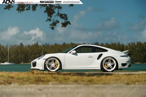 white porsche white porsche turbo s adv05 m v2 cs series wheels adv 1
