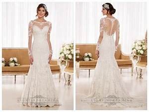 Timeless vintage lace fit and flare wedding dresses with for Lace fit and flare wedding dress with sleeves