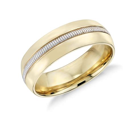 colin cowie men s milgrain inlay wedding ring in 18k yellow gold and platinum 6mm blue nile
