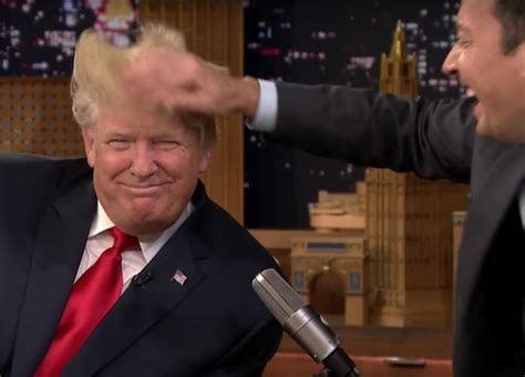 trump donald jimmy fallon hair mess tonight he lets messing trumps him denies thanked claims called uinterview interview opening