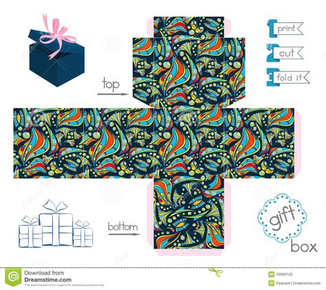 printable geometric shape ornaments printable gift box with abstract pattern stock