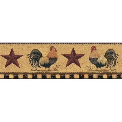 wallpaper border country roosters red stars  tan crackle