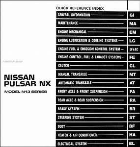 1987 Nissan Pulsar Nx Repair Shop Manual Original