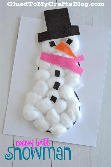 cotton ball snowman kid craft  winter preschool