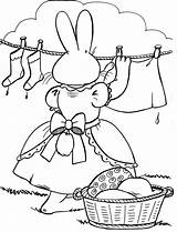 Coloring Clothes Pages Clothesline Hanging Easter Sheets Template Popular Mother sketch template