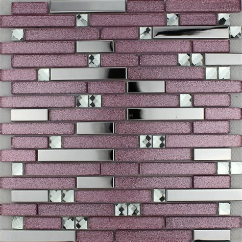 wall tiles kitchen backsplash purple glass mosaic tile backsplash silver stainless steel 6965
