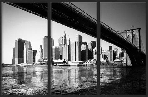 toile photo tryptique de rectangle le pont de avec les gratte ciels de new york en