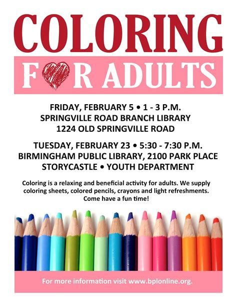 birmingham public library coloring for adults workshops