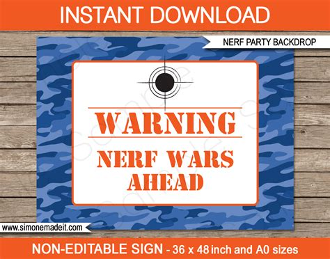 nerf birthday party printables invitations decorations