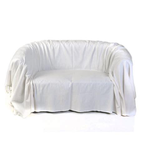 jetee canape jeté de canapé format rectangulaire tout uni blanc écru