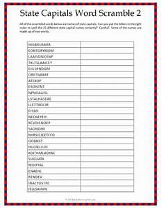 State Capitals Word Scramble - Worksheet 2