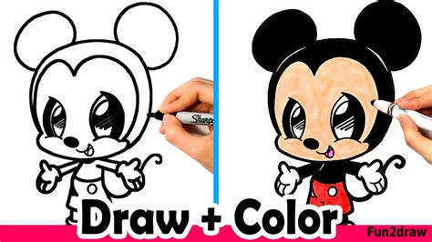 draw mickey mouse cute easy  color