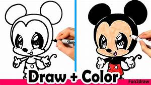 How To Draw Mickey Mouse Cute Easy And Color With