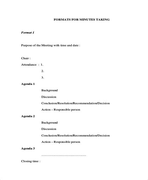 minutes writing template  sample  format