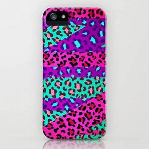 Wild Animal Print Neon Jaguar iPhone Case from Society6