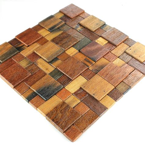 Holz Mosaik Fliesen by Wood Mosaic Tiles Brown Mix Varnished Mosafil Co Uk