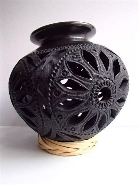 barro negro oaxaqueno bella olla cantaro grabado de flor