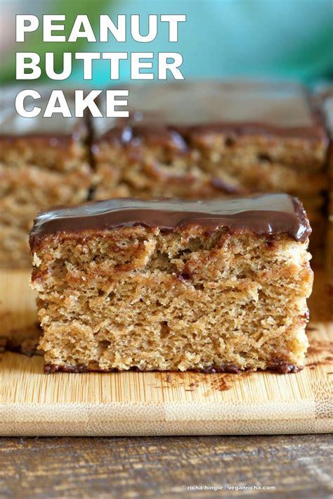 vegan peanut butter cake with chocolate peanut butter
