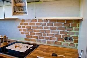 tiny kitchen renovation faux painted brick backsplash 985