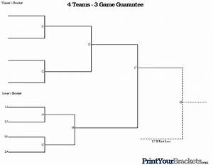 4 team 3 game guarantee tournament bracket printable With game bracket template