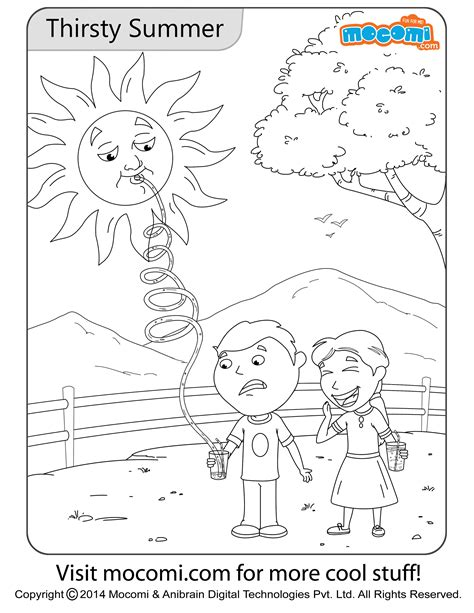 thirsty summer colouring page jojo colouring pages  kids mocomi