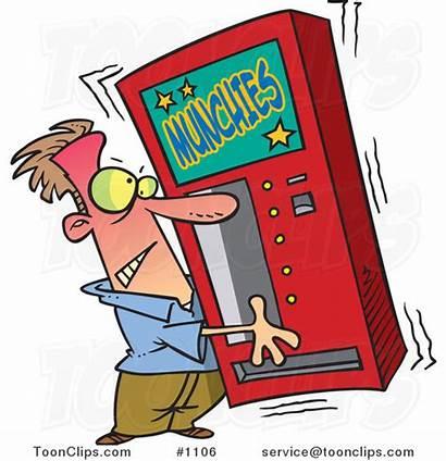 Vending Machine Shaking Munchies Guy Cartoon 1106
