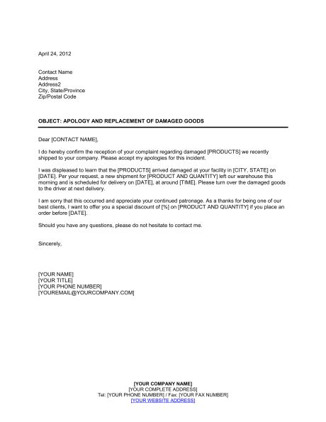 Apology and Replacement of Damaged Goods Template – Word