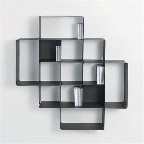 deco de chambre adulte moderne lot 2 étagères murales design loft métal gris bibliothèque