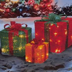 outdoor lighted christmas packages 3 piece lighted glittering swirl fabric presents american
