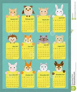 2017 Calendario Para Los Niños, Calendario Animal 2017