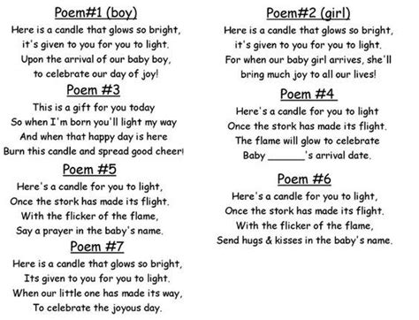 Gedicht Kerze Licht by Baby Shower Candle Poem Dyi Crafts Baby Shower Poems