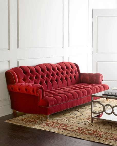 Haute House Sofa by Haute House Mr Smith Cranberry Tufted Sofa 94 5