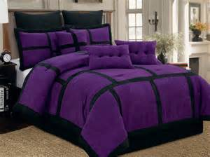 9 pc purple black comforter set micro suede queen size new bed in a bag ebay