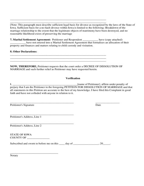 petition for dissolution of marriage iowa free