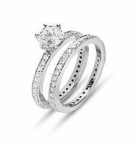 eternity style diamond engagement ring set both rings With wedding rings for both