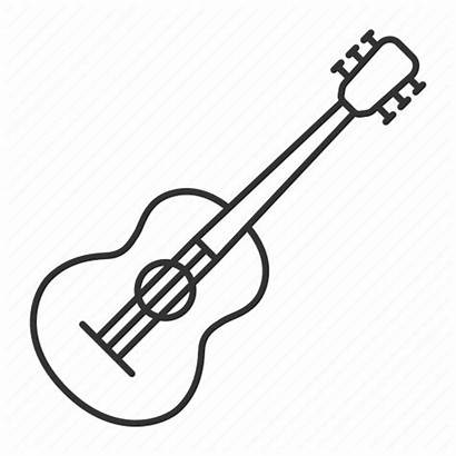 Guitar Acoustic Musical Drawing Instrument Line Icon