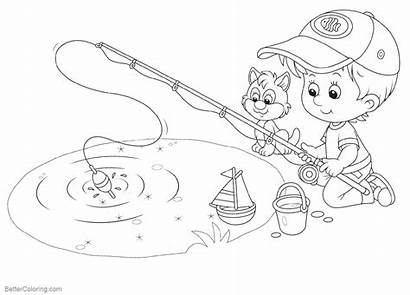 Pond Coloring Pages Fishing Printable Adults