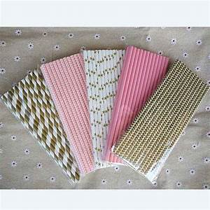 125pcs5bags pink gold striped mixed decorative drinking With decorative straws for weddings